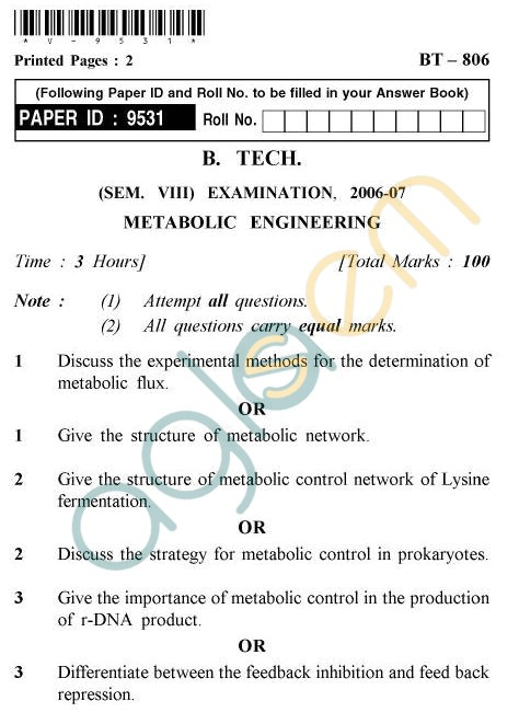 UPTU B.Tech Question Papers - BT-806 - Metabolic Engineering