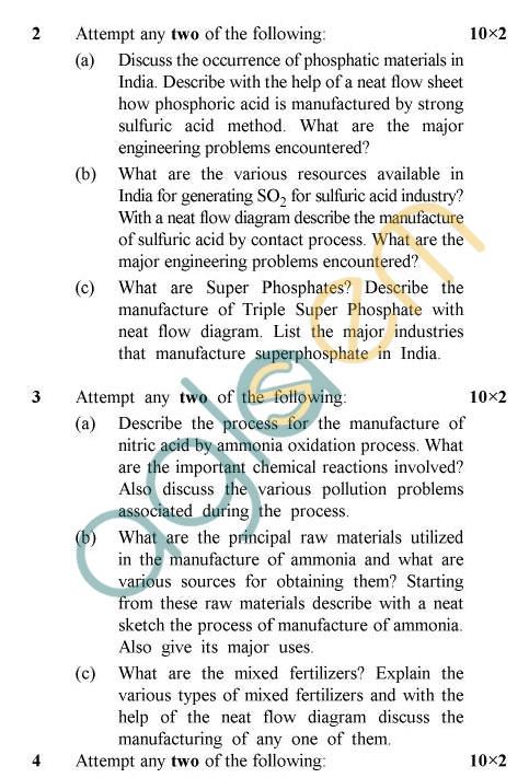 UPTU: B.Tech Question Papers -TCH-603 - Chemical Technology-II