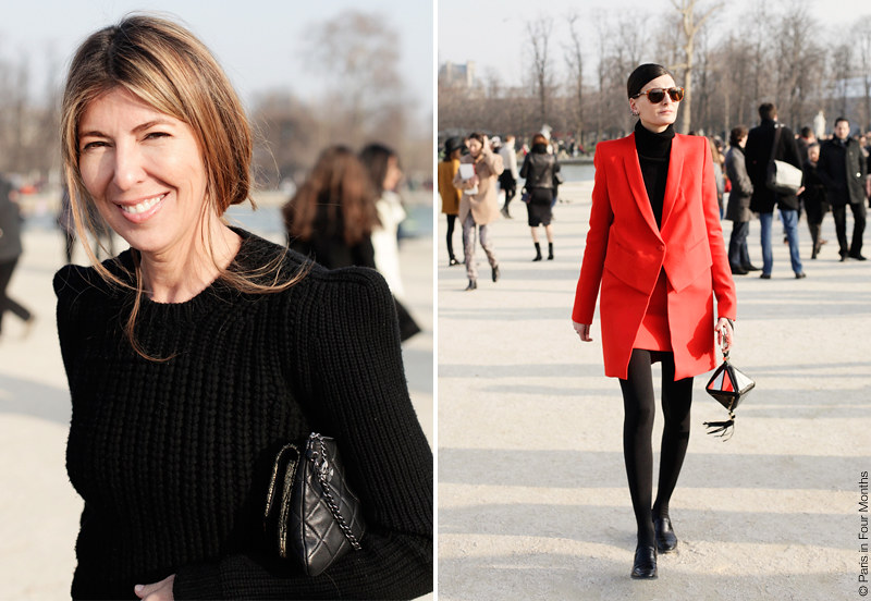 Nina Garcia and Giovanna Battaglia at Paris Fashion Week FW13 by Carin Olsson (Paris in Four Months)