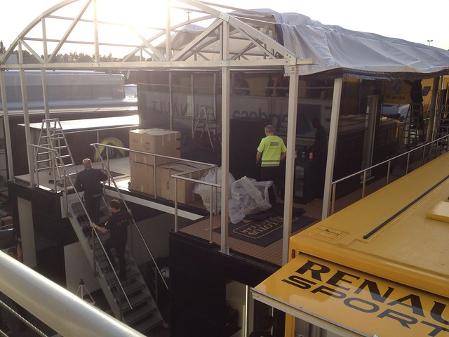The Lotus team motorhome gets dismantled after Formula One Winter Testing 2013