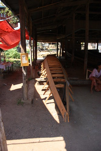 A new teak boat being made. Costs $2500 USD (even for locals). Made of teak and takes 4 people 1 month to build.