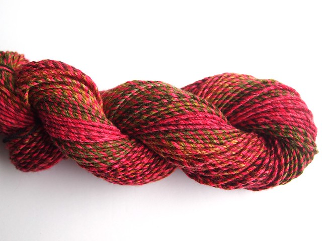 SCF-Sweet Wine-Corriedale-plus 2oz Polwarth in SCF semi solid from Winter 2012/2013 collection-3 chain plies 3-plied together-130yds