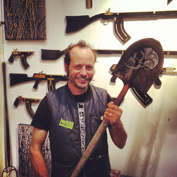 Scariest booth at Fountain Art Fair? Shovels and guns, with artist Dave Tree