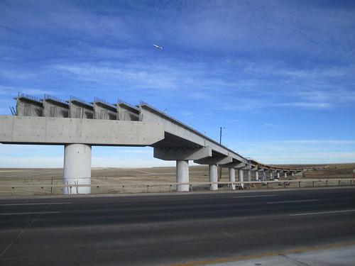 Photo of north approach spans for Peña Boulevard commuter rail bridge