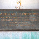 Igance Jan Paderewsky interior marker - USS Maine Mast Memorial - Arlington National Cemetery - 2013-03-15