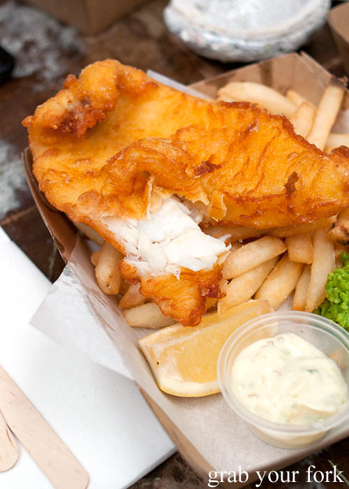 fish and chips with pea mash at Fish Place Surry Hills