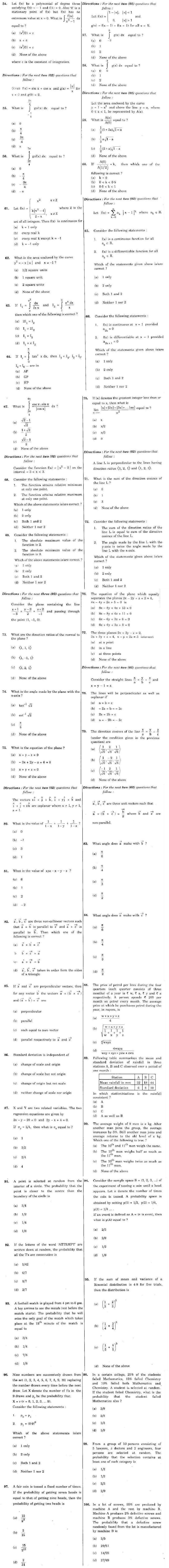 SCRA 2013 Mathematics Question Paper