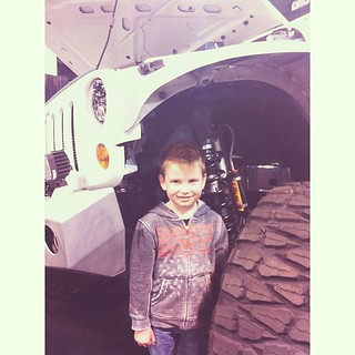 """Look Mom, I'm under the Jeep!"" #likefatherlikeson"