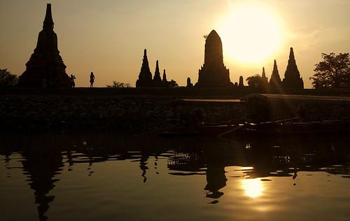 voyage travel sunset sky sun water river thailand boat asia eau south riviere ciel asie bateau fleuve couchédesoleil ayutthaya