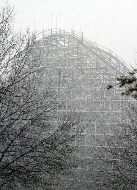 Snow on The Legend roller coaster