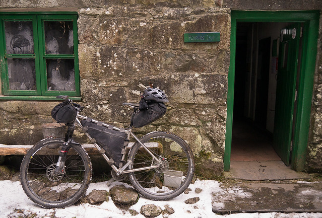 Winter luggage at Penrhos Uchaf bothy in CyB