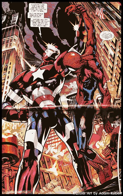 Iron Patriot vs Spider-Man. Art by: Adam Kubert. | Flickr ...