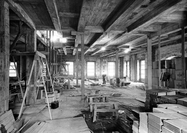 View from the Lincoln Room during the White House Renovation, 01/23/1951