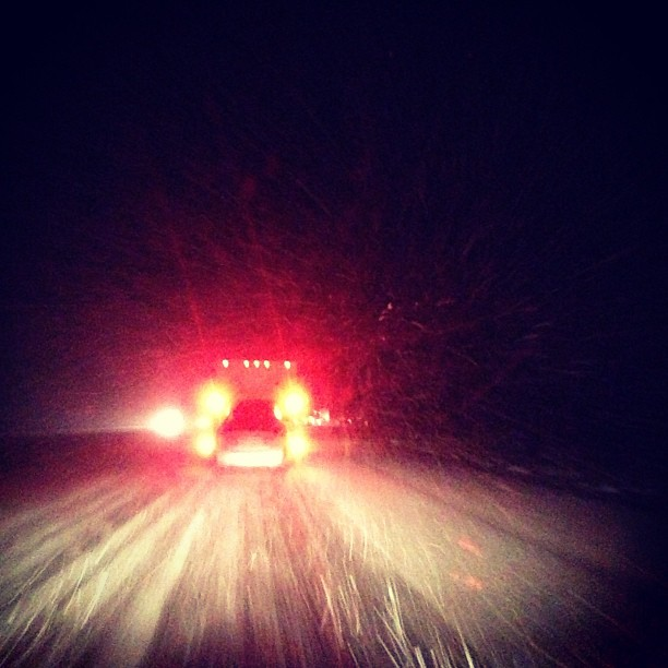 Exhausted driving slowly through snow in NM. Can it get worse? Yes, it probably can.