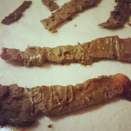 Chocolate dipped bacon for my valentine. Not dog poop.