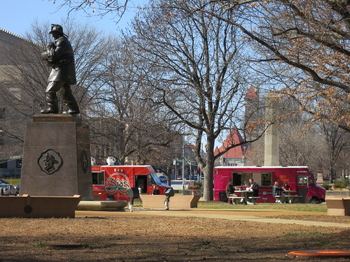Fireman's Memorial in the Gateway Mall is home to Food Truck Row