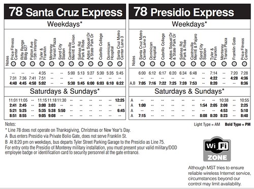 MST 78 timetable