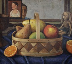fruit basket with self portrait painting