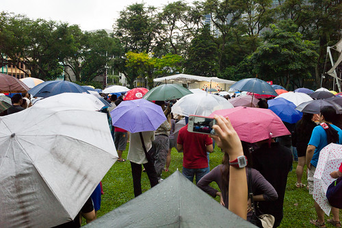 Without the lure of free food and free transport typical of the ruling party to bring supporters to their events in an organised fashion, the people came here on their own, rain or shine.
