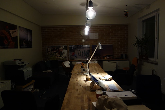 Night view of the Pixelache office