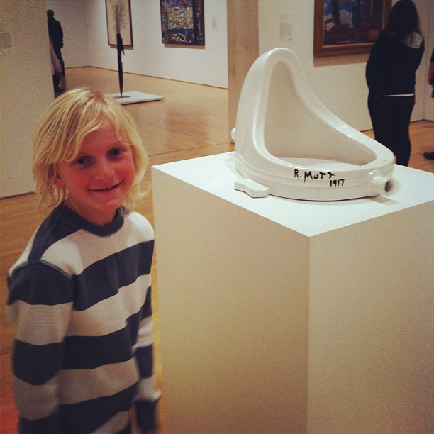 Wyatt is extremely impressed by the urinal sculpture.