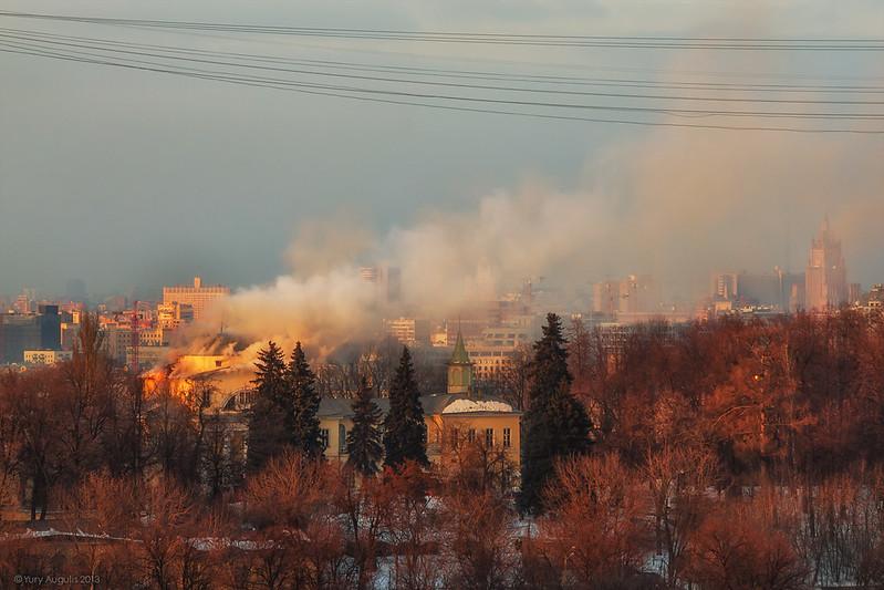 Пожар Мамонова дача (Васильевское)
