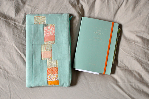 Perfect Zip Bag in Aqua & Orange