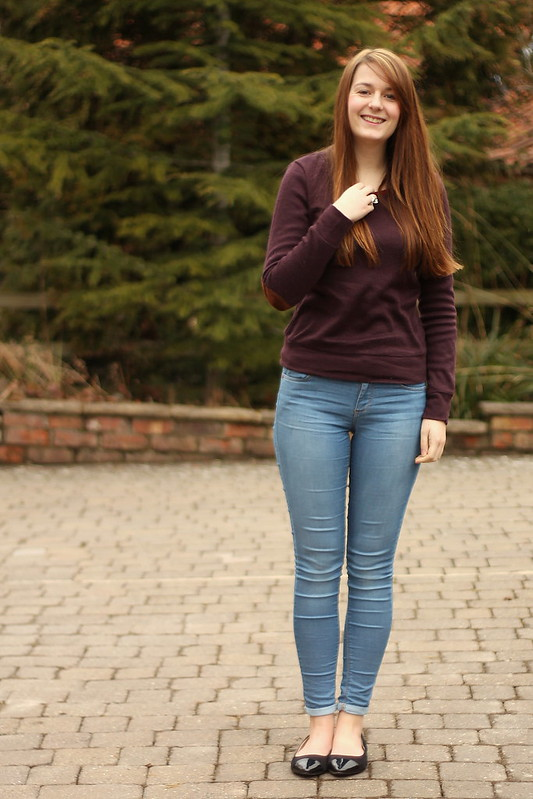 Glamorous elbow patch jumper, Topshop jeans, black flats