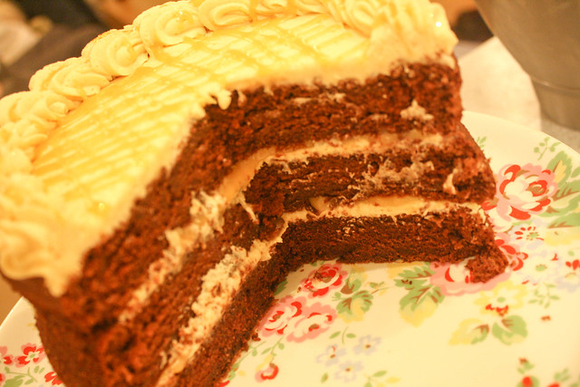 Chocolate cake with Peanut Butter frosting and Salted Caramel