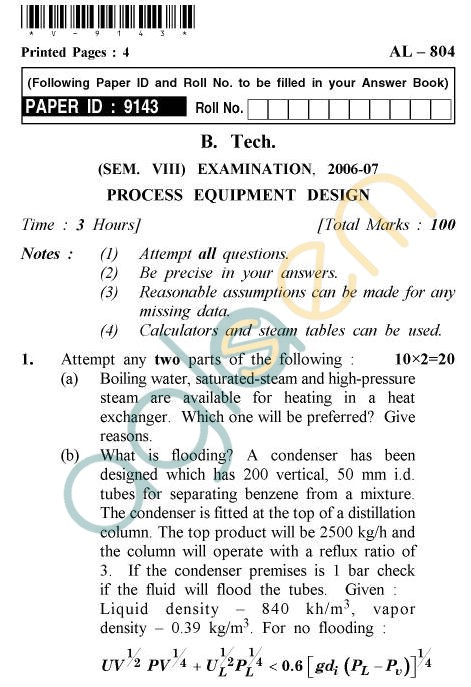 UPTU B.Tech Question Papers - AL-804 - Process Equipment Design