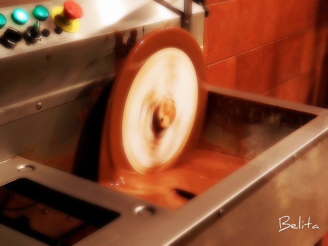 chocolate machine in operation