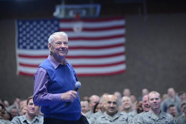 Chief Master Sgt. Robert Gaylor speaks to Airmen at Spangdahlem