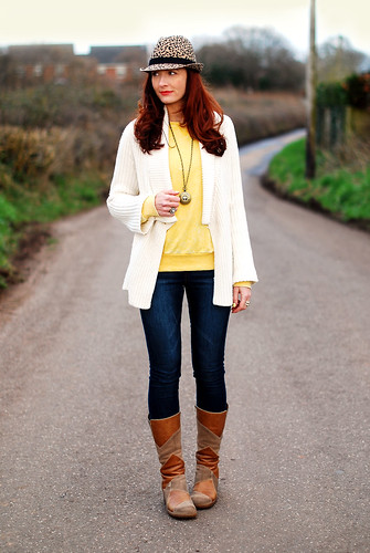 White cardi, brown boots & leopard trilby