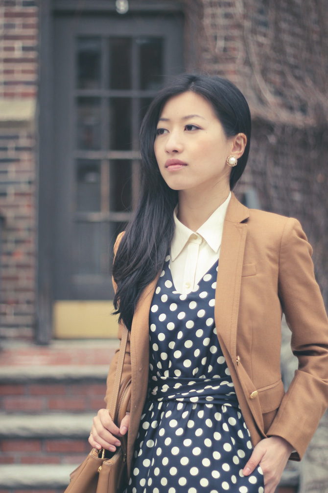 navy dots cream blouse4