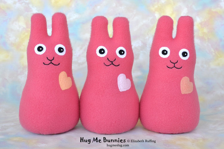 Coral fleece Hug Me Bunnies, original stuffed animal art toys by Elizabeth Ruffing