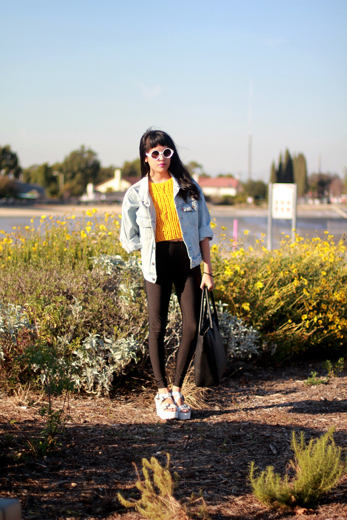 Vintage Levi's denim jacket, high waist leggings, Pima Doll hand knit crop, Tarte cross rings at shoptarte.com