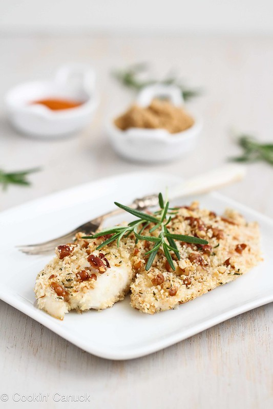 Baked Tilapia Recipe with Pecan Rosemary Topping #fish #healthy #recipe