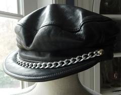 Vintage Black Leather Rebel Biker Cap with Visor Chain - Vintage Motorcycle  Hat - Made in ... e2771693f9f