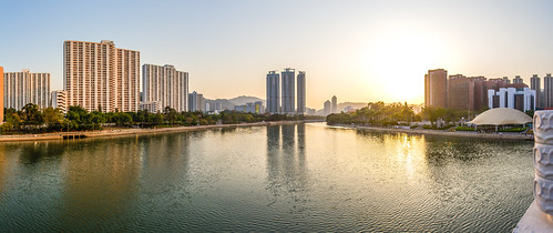 """沙田城門河日落 Sunset in Shatin Shing Mun River"" / 香港全景攝影 Hong Kong Panoramic Photography / SML.20130306.7D.26953-SML.20130306.7D.26963-Pano.Cylindrical.166x72"