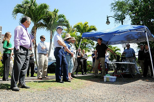 <p>University of Hawaii's Center for Island, Maritime and Extreme Environment Security visit to Iolani School in March 2013. (Photo courtesy of Iolani School)</p>