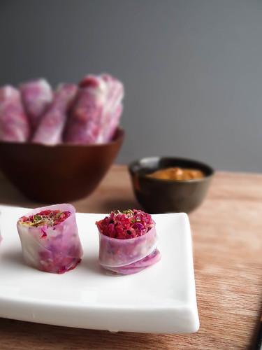 crispy matsutake spring rolls