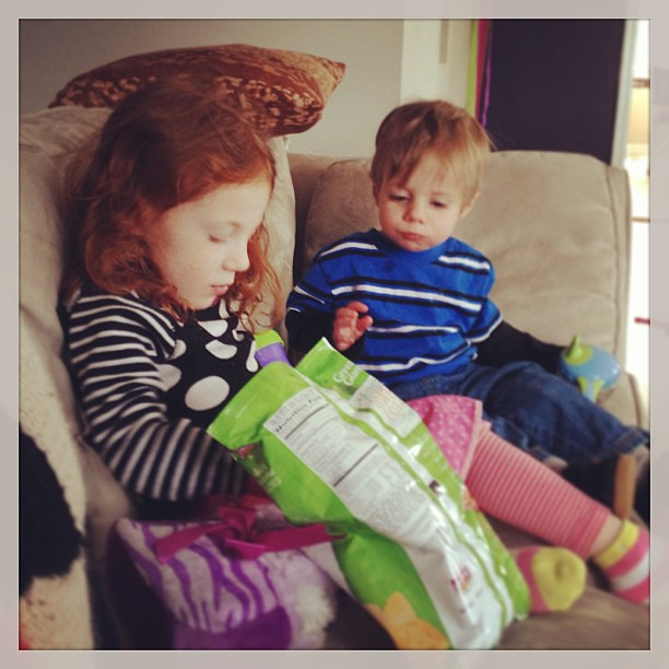My kids very much enjoying the Green Giant Multigrain Sweet Potato Chips! #spon #AGiantSurprise