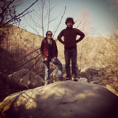 Charletta and Jonathan climbed a rock