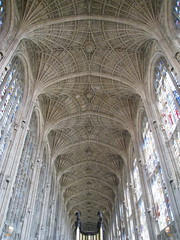 The fan-vaulted ceiling (1512-15) of the nave, King's College Chapel, Cambridge, England