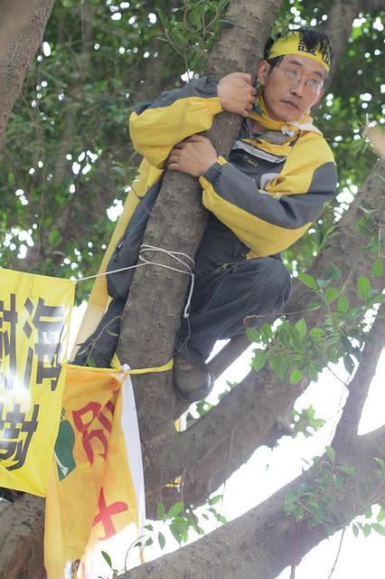 江翠護樹志工隊總幹事潘翰疆以「抱樹」抵擋「斧頭幫」(江翠護樹志工隊提供)