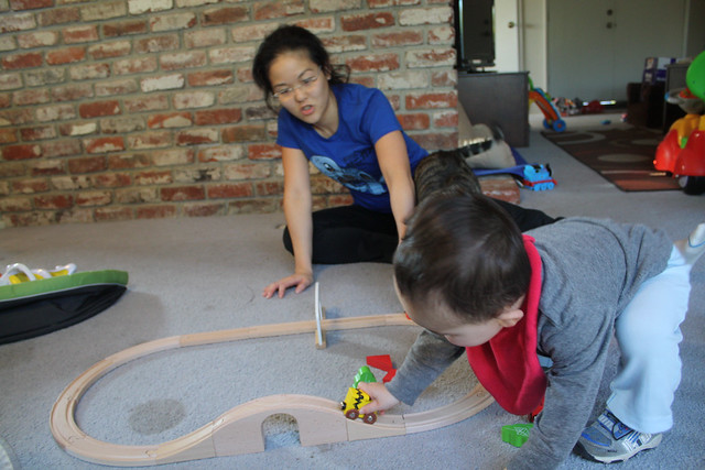 Playing with new snoopy train set