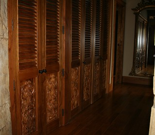 Carved TEAK Laundry Doors