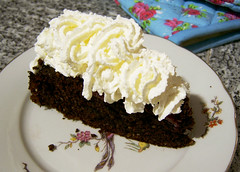 choc cherry rum cake with cream