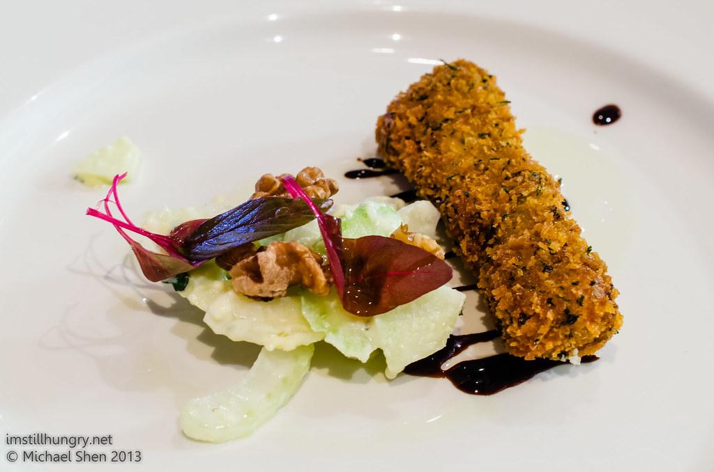 Bistro Lilly Butternut pumpkin croquette, waldorf salad, truffle oil & cress