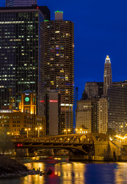Looking Down the Chicago River at Blue Hour